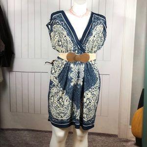 MAURICES BLUE/CREAM BELT DRESS SIZE 2